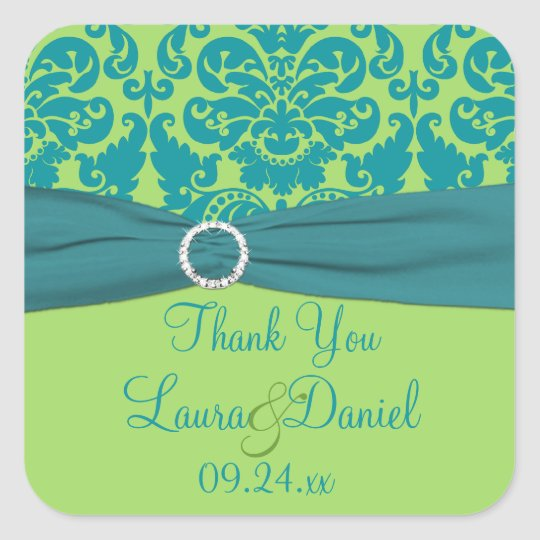 Apple Green and Turquoise Wedding Favour Sticker