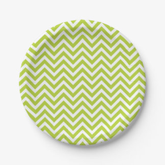 Apple Green and White Chevron 7 Inch Paper Plate