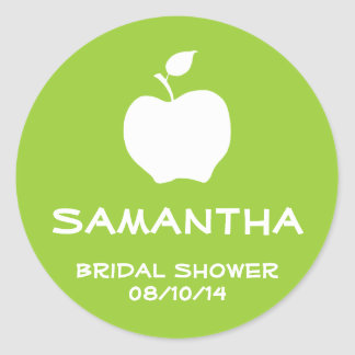 Apple Green and White Favor Seal Round Stickers