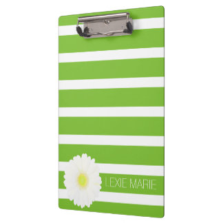 Apple Green and White Stripe With White Daisy Clipboard
