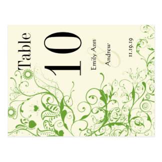Apple Green & Black Birds Swirl Table Number Postcard