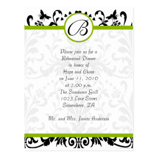 Apple Green Black Bumble Bee Rehearsal Dinner Post Cards