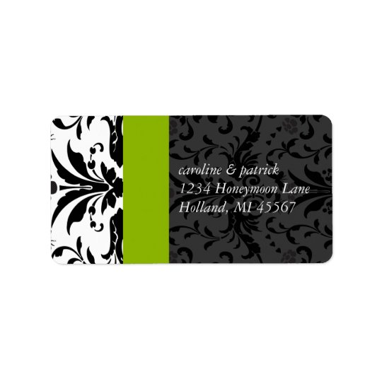 Apple Green & Black Damask  Address Labels -