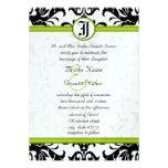 Apple Green & Black Dots Damask Wedding Invitation