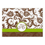 "Apple Green Brown Response Card 3.5"" X 5"" Invitation Card"