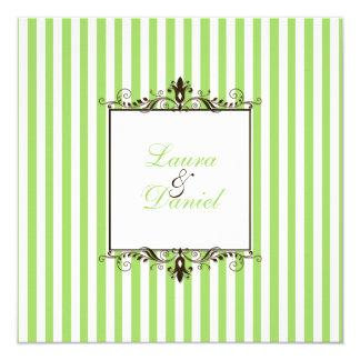 Apple Green, Brown, White Stripes Scrolls Invite