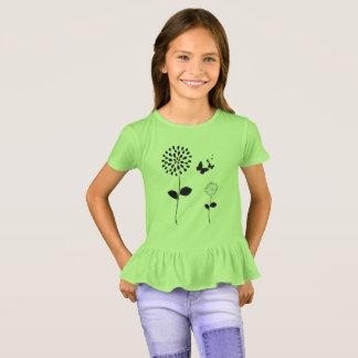 Apple-Green-Butterflies-Flower Ruffle-Top T-Shirt