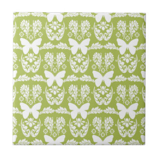 Apple Green Butterfly Damask Ceramic Tile Trivet