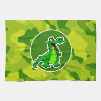 Apple Green Camo; Alligator, Gator Hand Towel