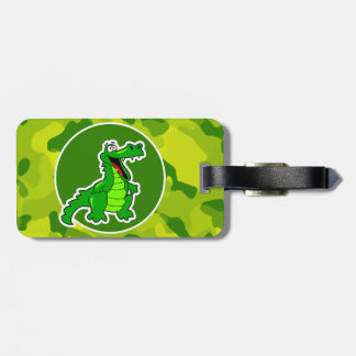 Apple Green Camo; Alligator, Gator Luggage Tag