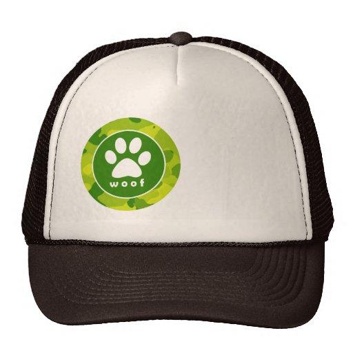 Apple Green Camo; Paw Print Trucker Hat