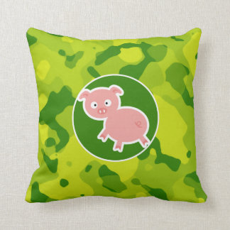 Apple Green Camo; Pig Throw Pillow