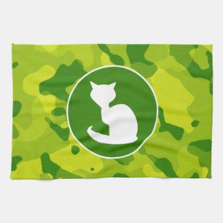 Apple Green Camo; White Cat Towel