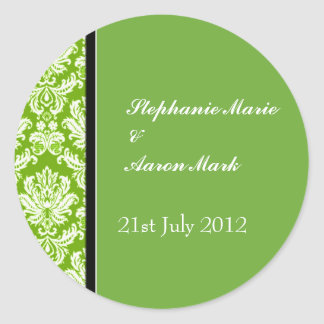 Apple Green Classic Damask Wedding Label Sticker