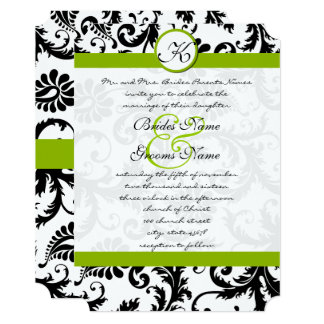Apple Green Damask Monogram Wedding Invitation