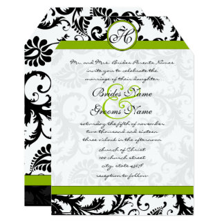 Apple Green Damask Swirls Wedding Invitation