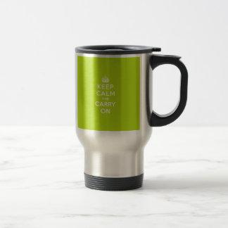 Apple Green Keep Calm and Carry On Travel Mug