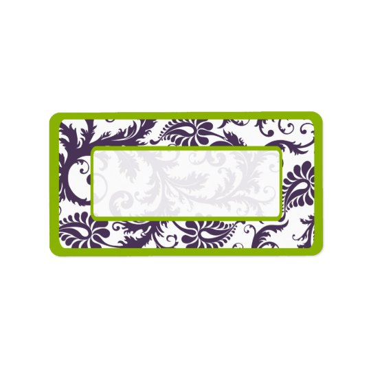 Apple Green & Lapis Purple Damask Dots Label