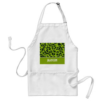 Apple Green Leopard Animal Print; Personalized Adult Apron
