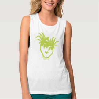Apple Green Palm Tree Beach Wedding Flowy Muscle Tank Top