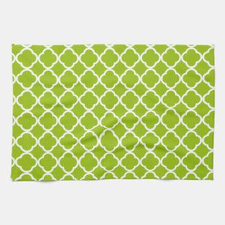 Apple Green Quatrefoil Kitchen Towel