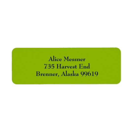 Apple Green Simple Plain Return Address Labels