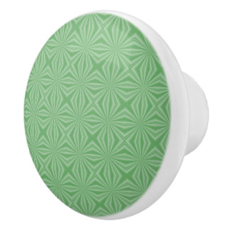 Apple Green Squiggly Square Ceramic Knob
