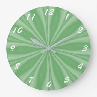 Apple Green Streaks Large Clock