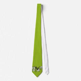 Apple Green Stripes Vintage Bird Daisy Wedding Tie