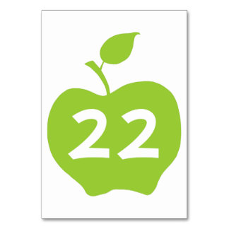 Apple Green Table Number Table Card