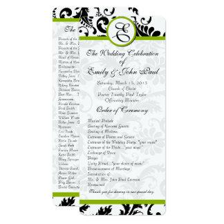 "Apple Green Trim Black Damask  Wedding Program 4"" X 9.25"" Invitation Card"
