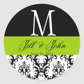 Apple Green Wedding Monogram Date Damask Sticker