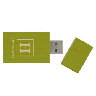 Apple Green White Framed Initial Monogram Wood USB 3.0 Flash Drive