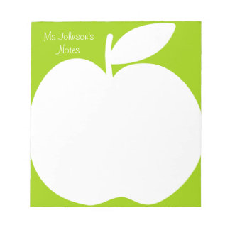 Apple green writing note pads for school teacher