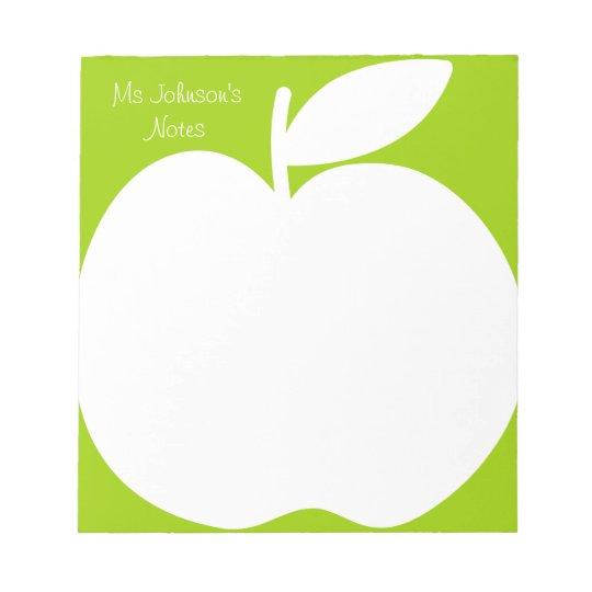Apple green writing note pads for school teacher