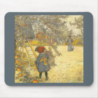 Apple Harvest by Carl Larsson Vintage Orchard Mouse Pad