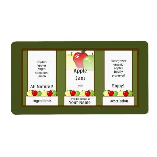 Apple Jam Canning Jar Label