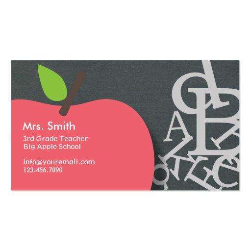 Apple & Letters Chalkboard School Teacher Business Card