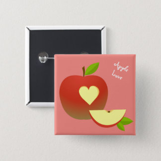 Apple Love 2 Inch Square Button