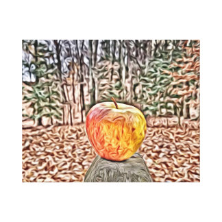 Apple on a post canvas print