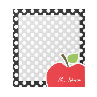 Apple on Black and White Polka Dots Notepads