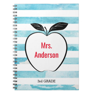 Apple on Blue Watercolor Stripes for Teacher Notebook