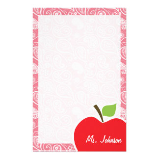 Apple on Blush Pink Paisley Custom Stationery