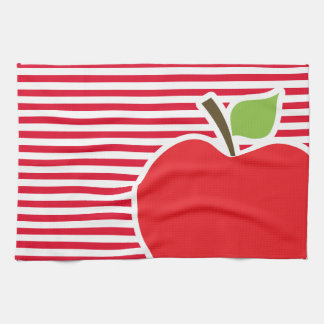 Apple on Cadmium Red Stripes; Striped Kitchen Towels