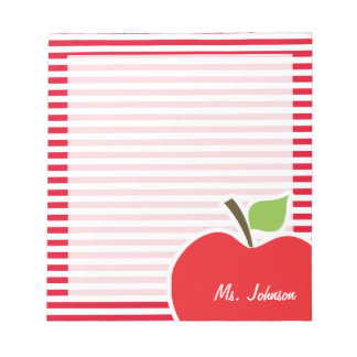 Apple on Cadmium Red Stripes; Striped Notepad