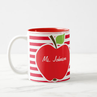 Apple on Cadmium Red Stripes; Striped Two-Tone Coffee Mug