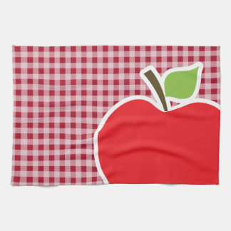 Apple on Carmine Red Gingham Towels