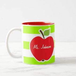 Apple on Electric Lime Green Horizontal Stripes Two-Tone Coffee Mug
