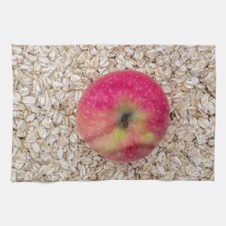 Apple on oatmeal towel