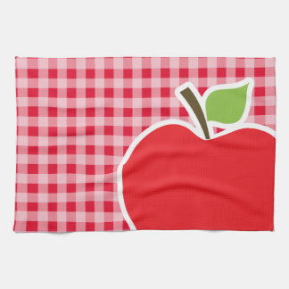 Apple on Retro Scarlet Red Gingham Hand Towels